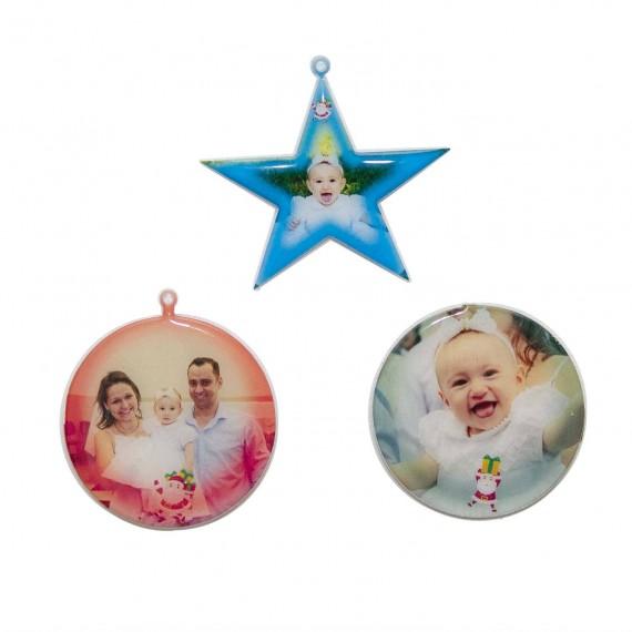 Enfeite de Natal Personalizado com Foto e frase natalina
